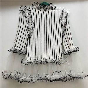 Akira black and white tulle blouse